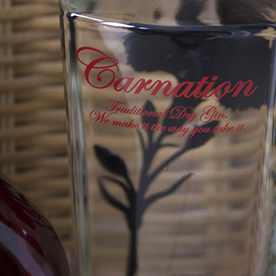 carnation gin bottle label