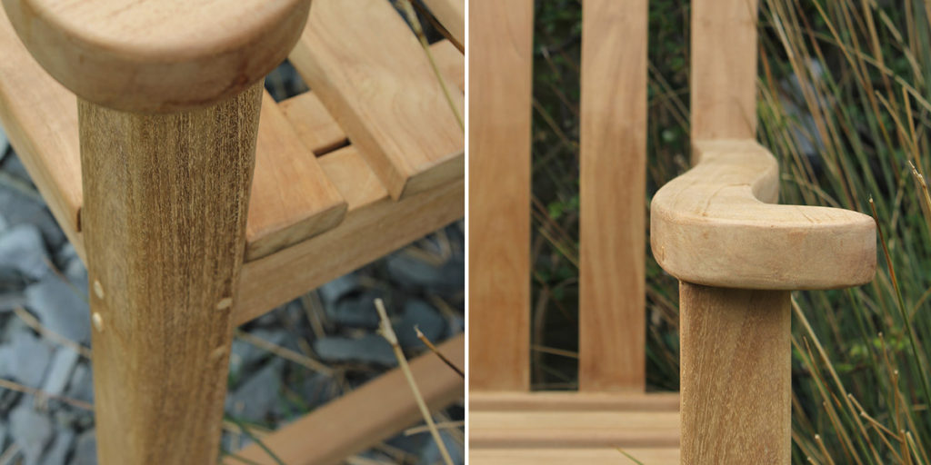 Wooden dowels and solid joints make the bench sturdy and avoid unsightly screws, while that curvy arm is crying out for the addition of a pint glass